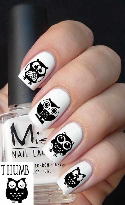 дизайн ногтей сова чёрная