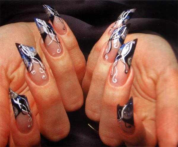 косой дизайн ногтей типсы