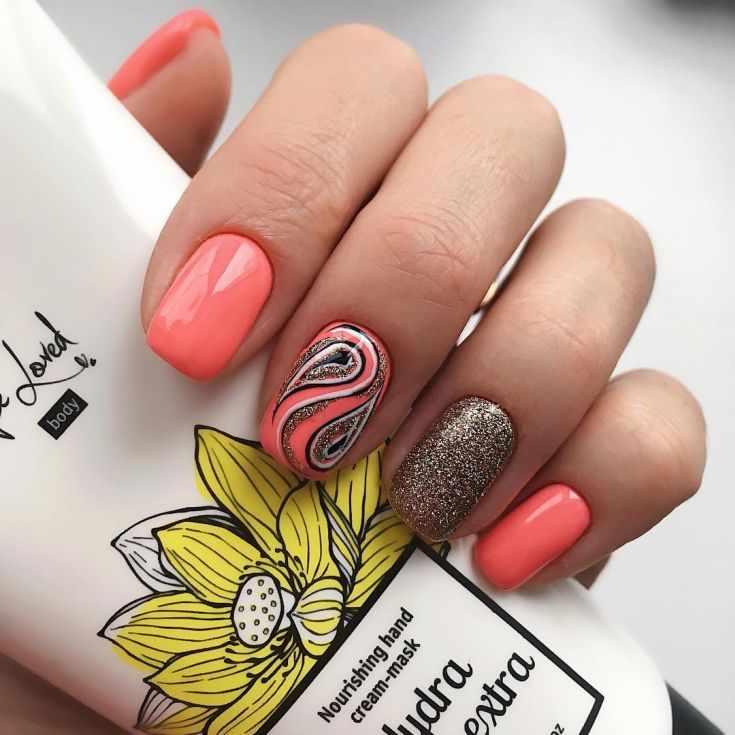 маникюр персикового цвета