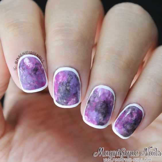 дизайн ногтей лиловый цвет