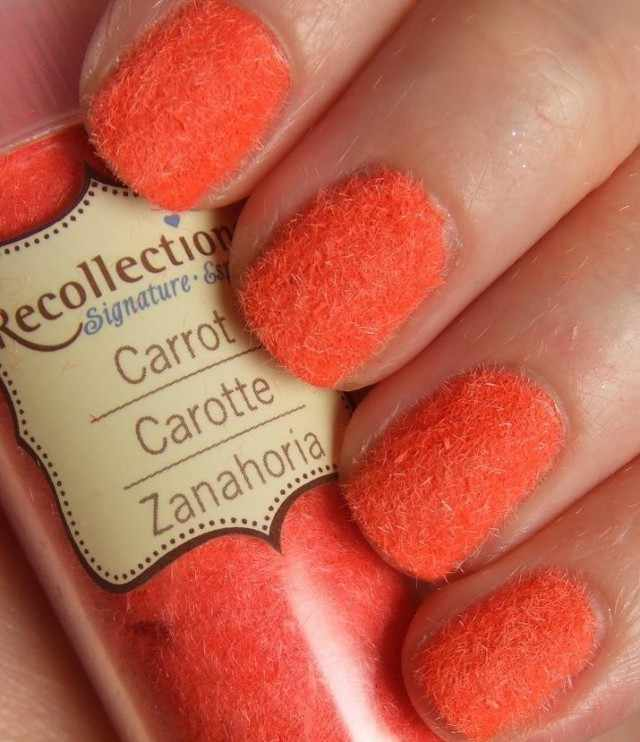 дизайн бархатных ногтей Оранжевый velvet nail design