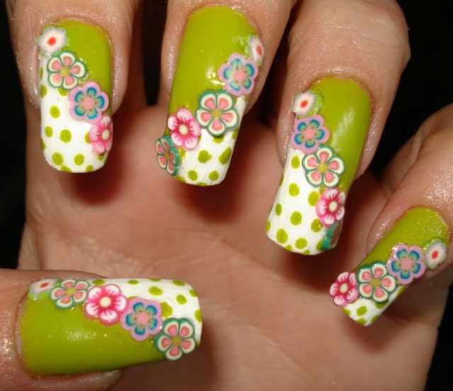 дизайн ногтей с фимо цветы по диагонали nail design Fruit