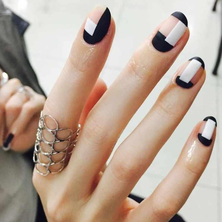 Маникюр геометрия на короткие ногти