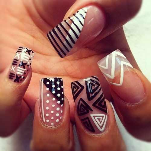 transparent nail design прозрачный маникюр идея manicure with transparent tips