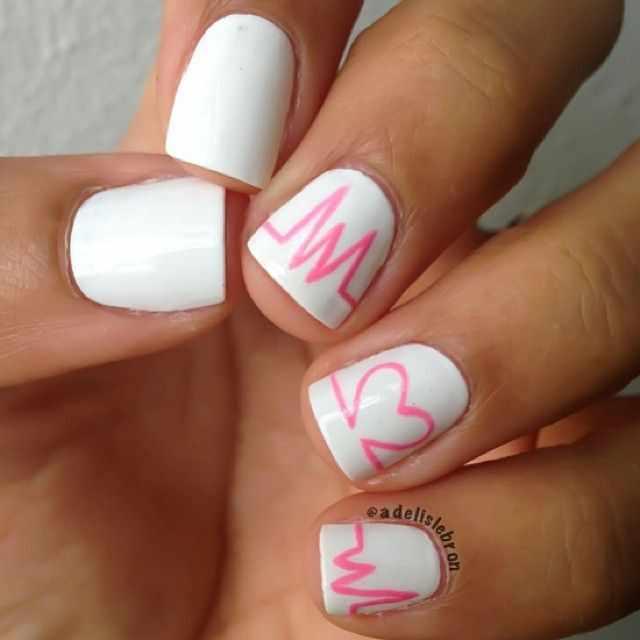 beautiful red manicure white красно белый маникюр пульс сердца