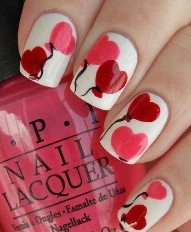 beautiful red manicure white balloon красно белый маникюр шариком-валентинкой