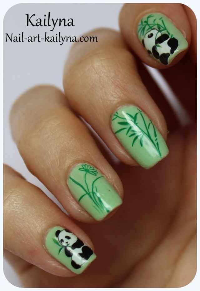 дизайн ногтей животные панда бамбук