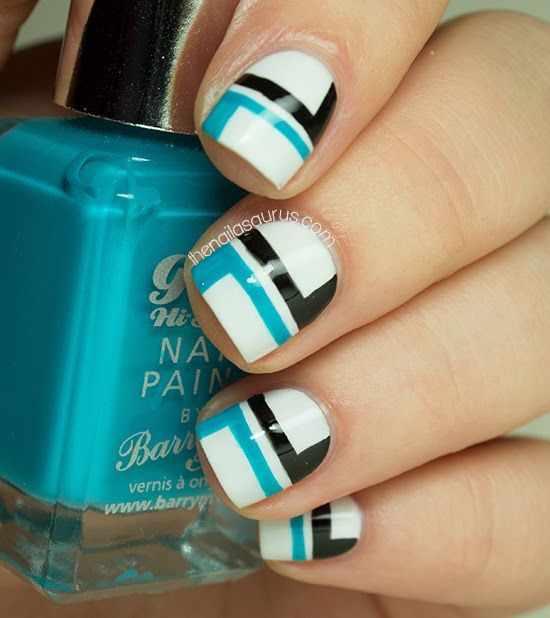 геометрический дизайн ногтей чёрный белый синий