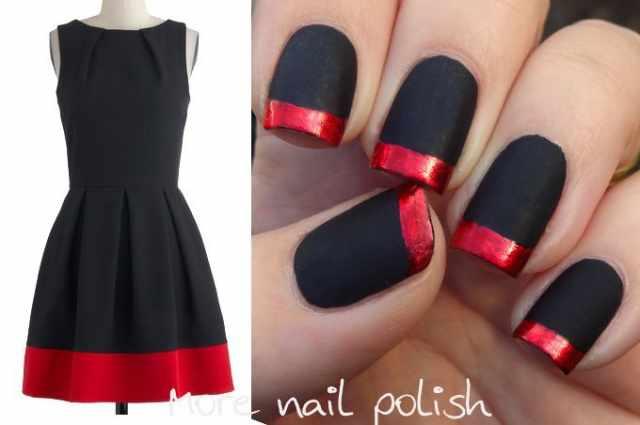 red black manicure красно чёрный дизайн ногтей под цвет платья