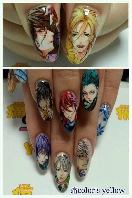 design nail anime анимешный дизайн ногтей парни