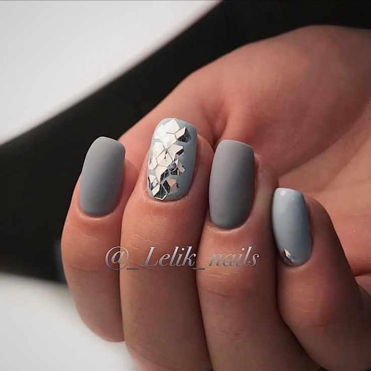 Модный серый матовый маникюр 59 фото