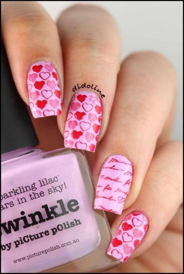 design nail heart маникюр с валентинкой розовые