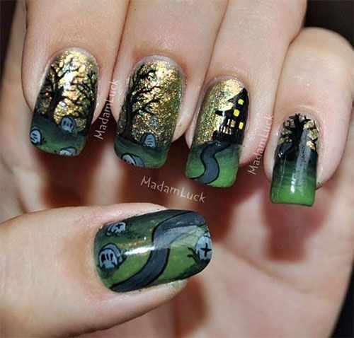 дизайн ногтей на праздник хэллоуин дом