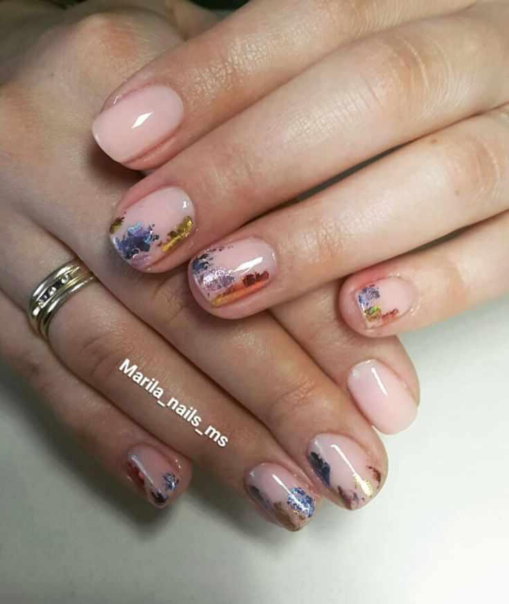 дизайн ногтей с переводной фольгой
