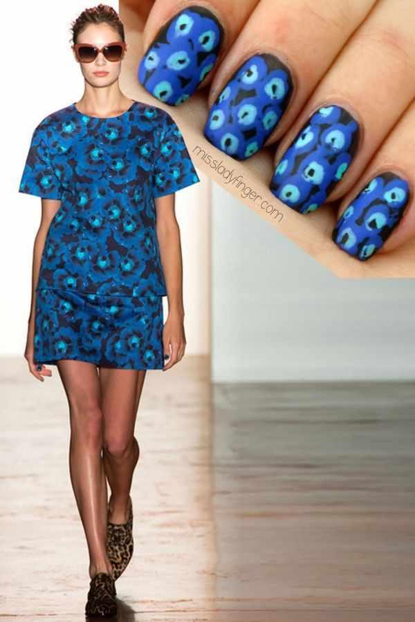 manicure under a blue dress маникюр под синее платье чёрные пятна