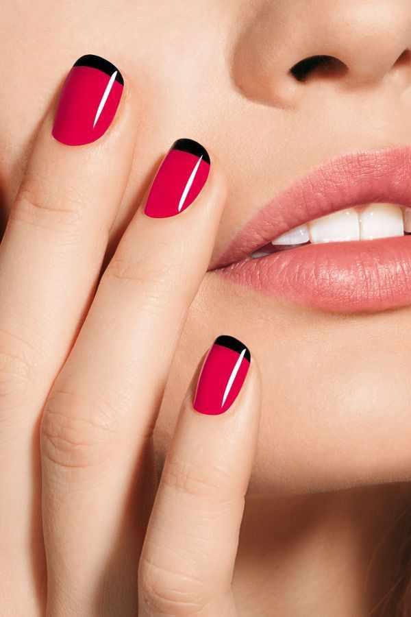 red black manicure красно чёрный дизайн ногтей розовый с чёрными кончиками