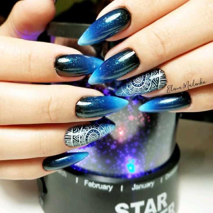 17 фото космический галактический дизайн ногтей