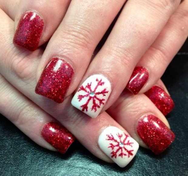 beautiful red manicure white snowflake красно белый маникюр снежинка