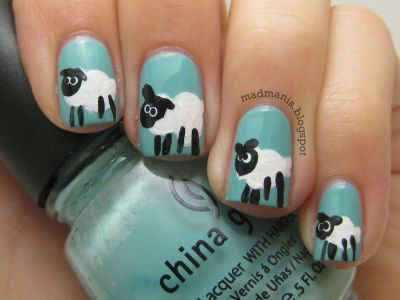 дизайн ногтей животные овечка