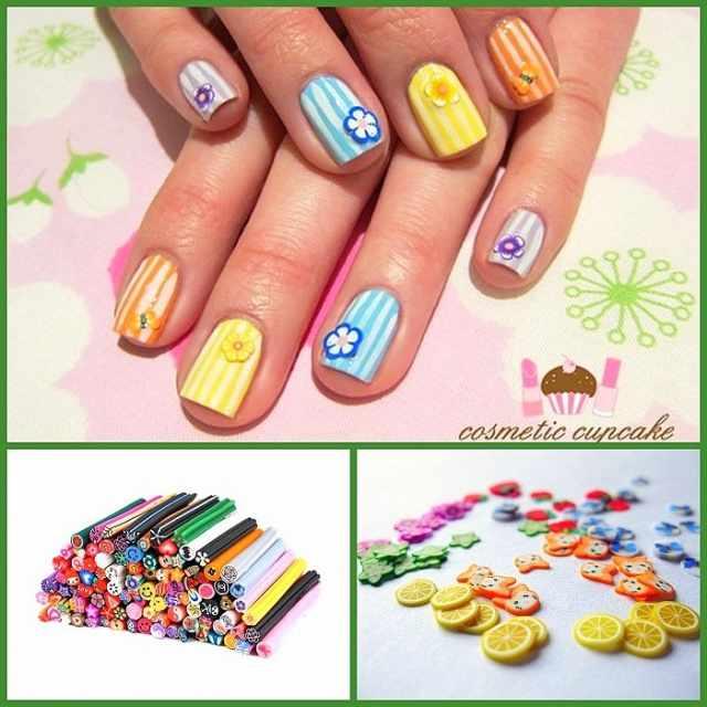 дизайн ногтей с фимо цветы бабочки nail design Fruit