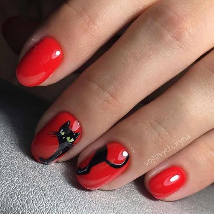 Красный маникюр на короткие овальные ногти с рисунком котика на двух ногтях