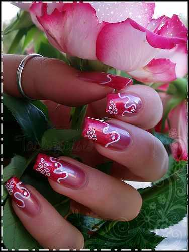 beautiful red manicure white красно белый маникюр розовый с переходом