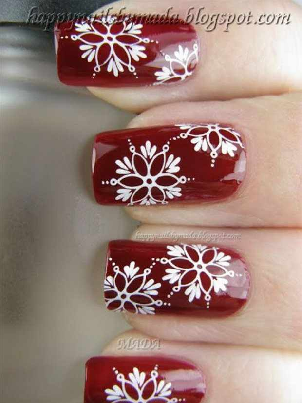 beautiful red manicure white flower красно белый маникюр рисунок ромашки