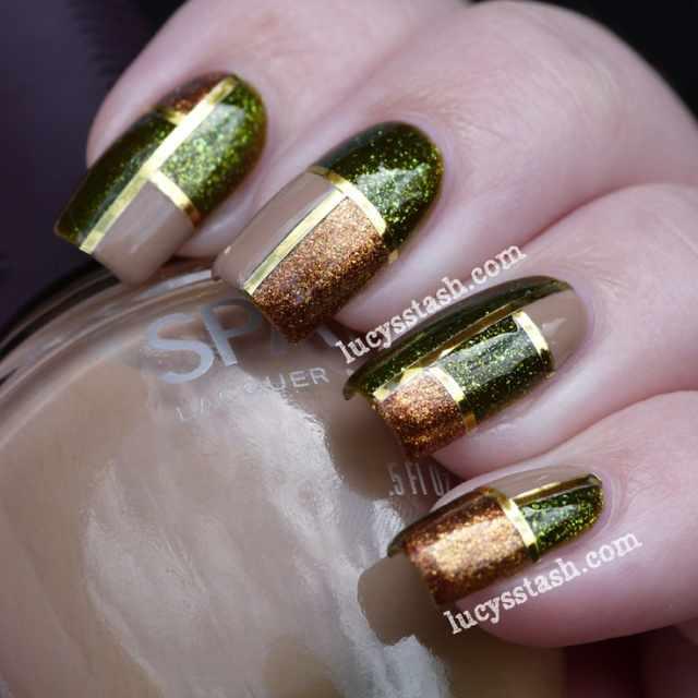 геометрический дизайн ногтей коричневый зелёный телесный