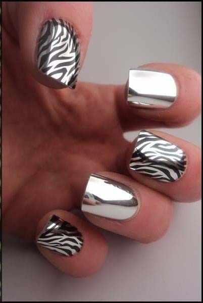 manicure mirror foil зеркальный маникюр с фольгой зебра