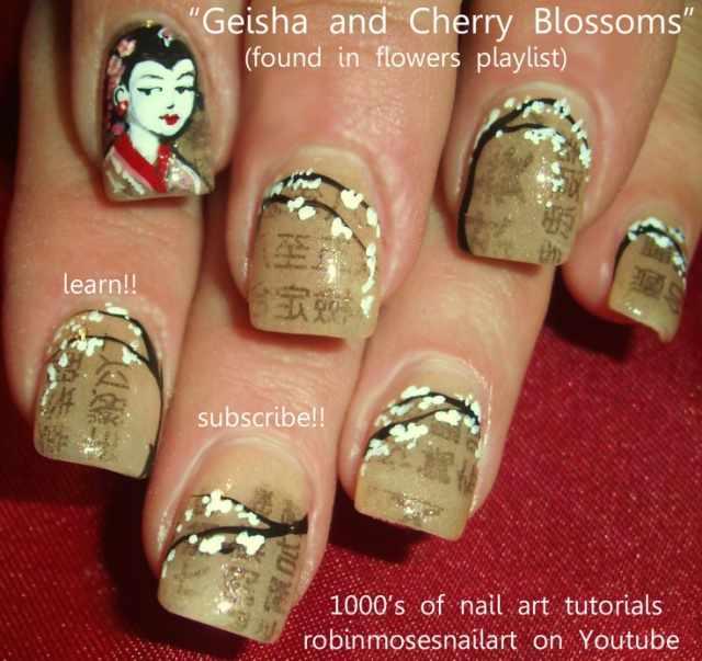 газетный дизайн ногтей в китайском стиле Newspaper nail design