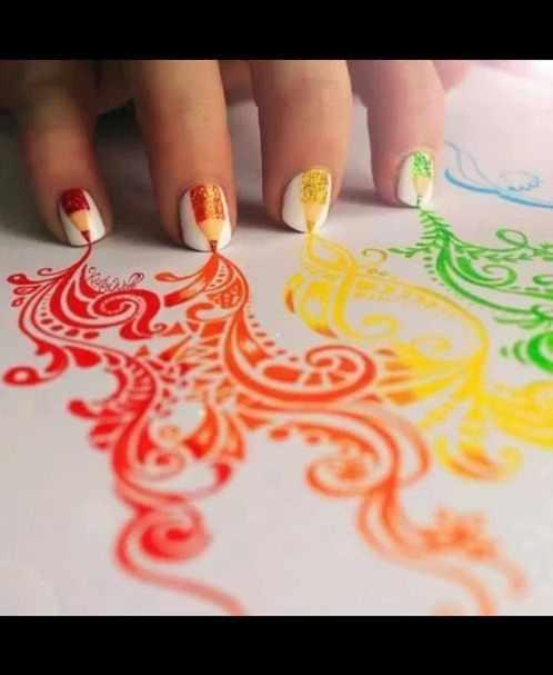 оранжевый маникюр ногтей карандаш