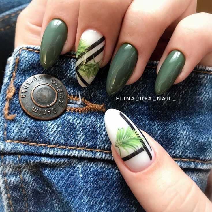 Маникюр зелёный с чёрным