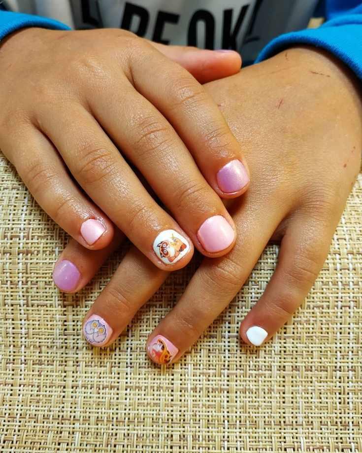 Детский маникюр на коротких ногтях
