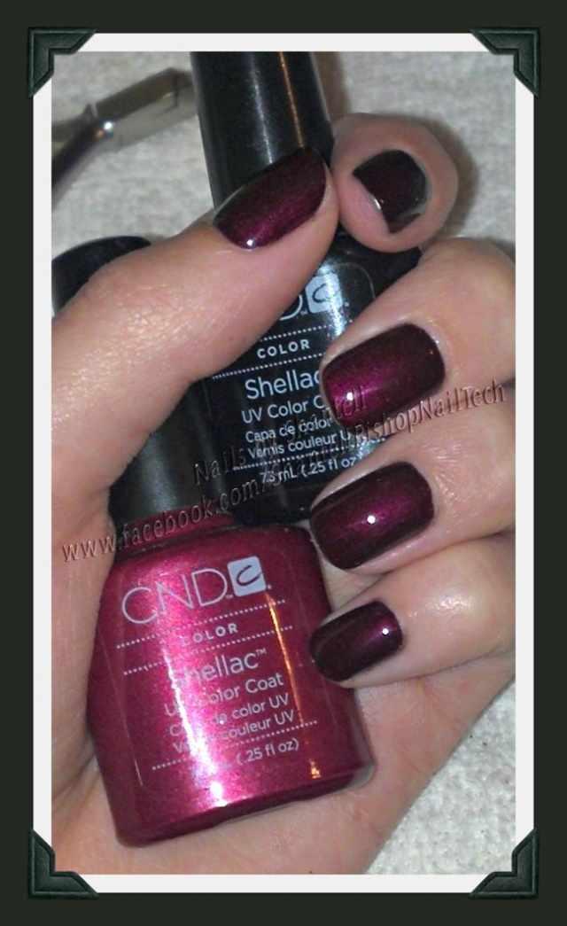 CND schellac дизайн тёмно бордовый глянцевый