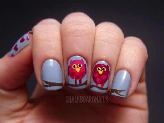 дизайн ногтей сова красная