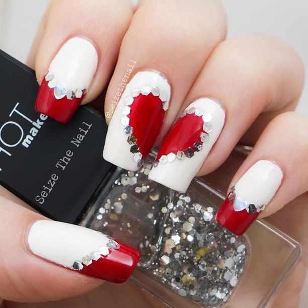 beautiful red manicure white heart paetki красно белый маникюр сердце