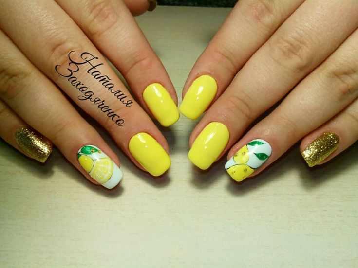 Жёлтый весенний маникюр