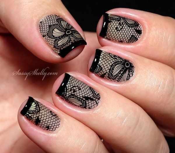 ногти вуаль колготки кружева цветок nail design lace