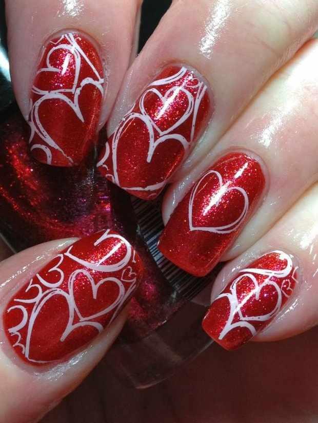 beautiful red manicure white heart красно белый маникюр сердце