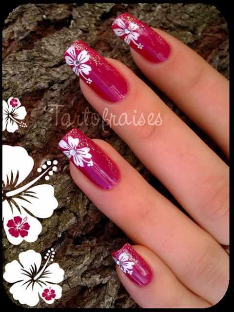 beautiful red manicure white flower красно белый маникюр с цветком