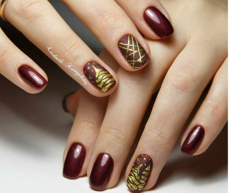 34 фото маникюр красно золотого цвета | двухцветный дизайн ногтей