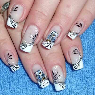 дизайн ногтей сова белый