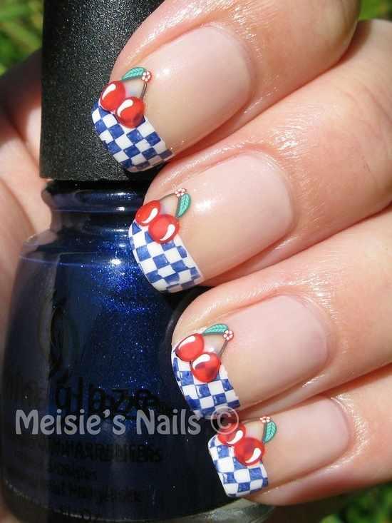 дизайн ногтей с фимо вишенка nail design Fruit