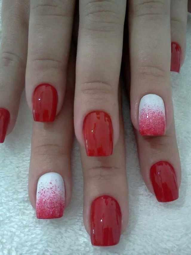 beautiful red manicure white ombre красно белый маникюр омбре