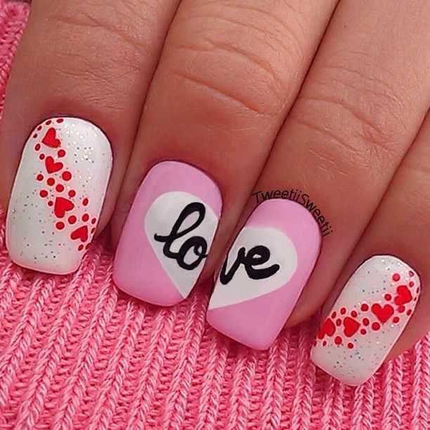 design nail heart маникюр с валентинкой love