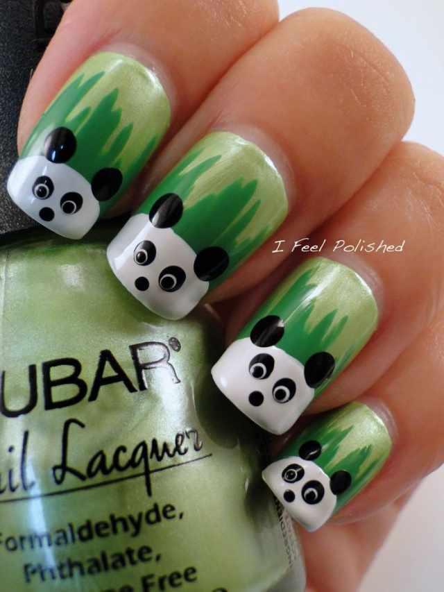 дизайн ногтей животные панда