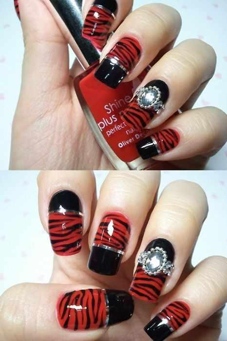 red black manicure красно чёрный дизайн ногтей стиль зебры