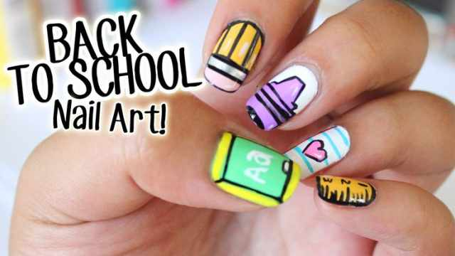 школьный дизайн ногтей арт