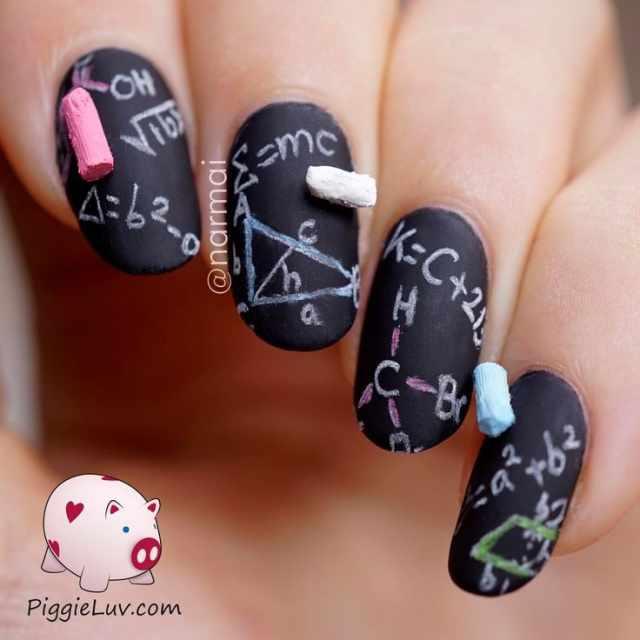 школьный дизайн ногтей предметы