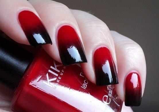 red black manicure красно чёрный дизайн ногтей градиентный